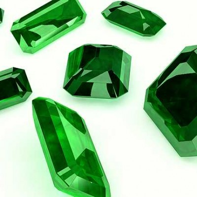 3d; cut; emerald; gem; green; jewel; jewellery; light; precious; seven; white;