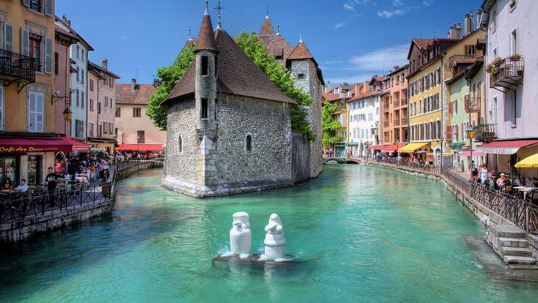 annecy; canal; france; french; george; hopkins; lake; resort; rhone; scene; water;