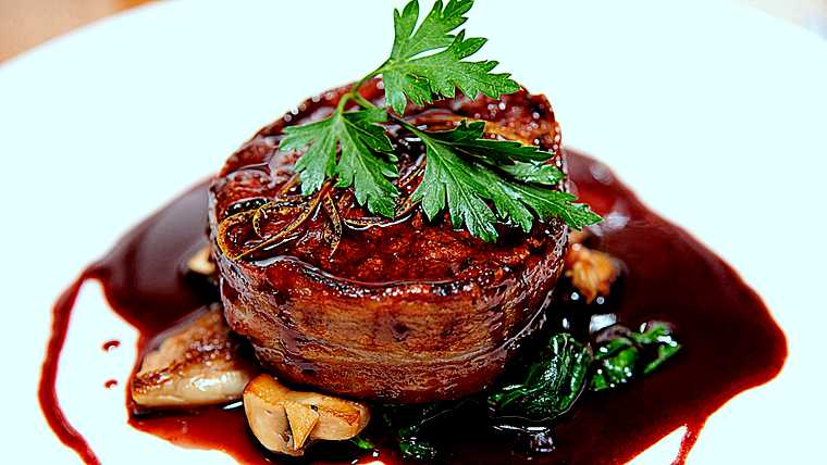 bacon; beef; black; chateaubriand; color; cooked; cuisine; culinary; cut; delicious; demi-glace; demiglace; dinner; dish; elegant; food; fried; garnish; gastronomy; gourmet; grill; healthy; hot; lunch; macro; mash; meat; medium; nobody; parsley; perfect; piece; plate; porcelain; red; restaurant; roast; salad; sauce; savory; spinach; steak; striploin; tasty; tenderloin; vegetables; white; wrapped; yellow;