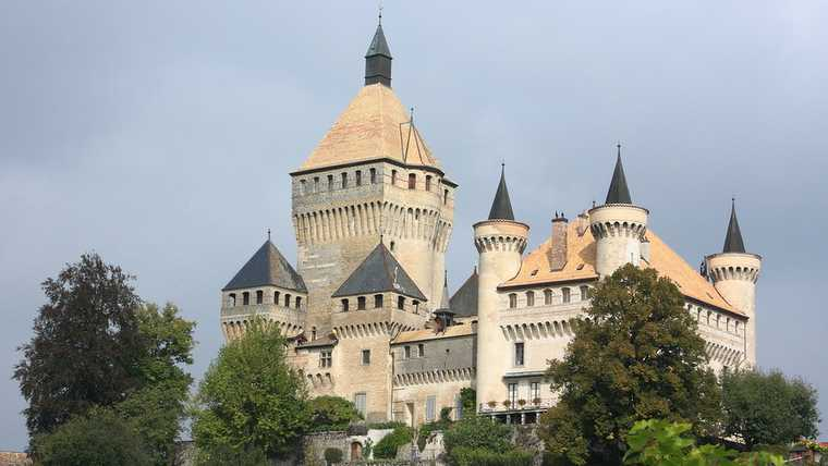 architecture; building; castle; chateau; de; editorial; europe; fairy; fortress; geneva; geneve; heritage; historic; house; landmark; medieval; morges; old; romantic; swiss; switzerland; tale; vaud; villa; vufflens;